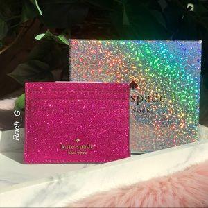 Kate Spade Small Slim Lola Glitter Card Holder